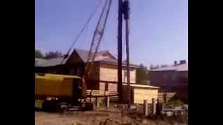 Копер(Копер забивает сваи для строительства дома. Извините за качество., 2013-12-26T18:40:32.000Z)