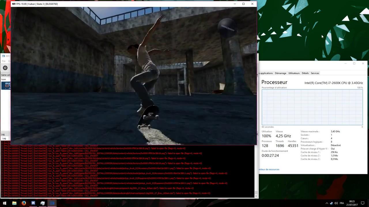 Skate 3 RPCS3 v0 0 3 performances
