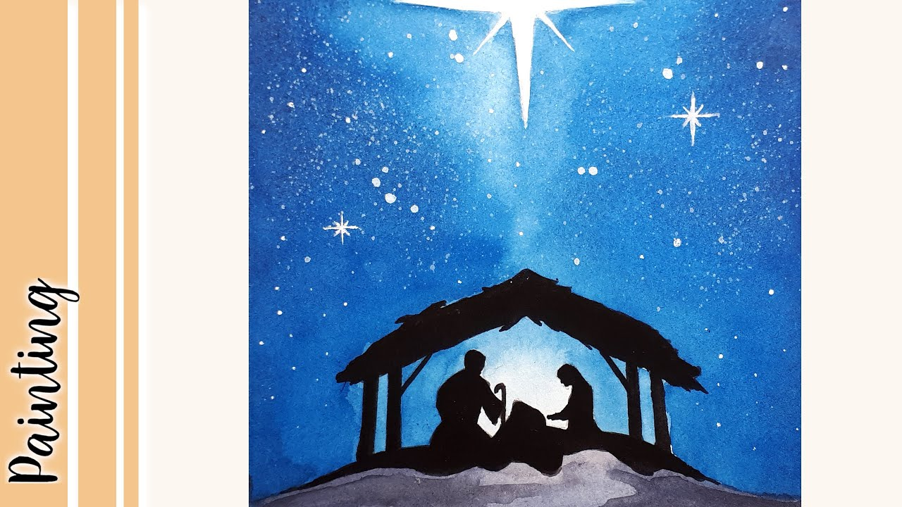 The Nativity Scene Silhouette Watercolor Christmas Card Youtube ✓ free for commercial use ✓ high quality images. the nativity scene silhouette watercolor christmas card