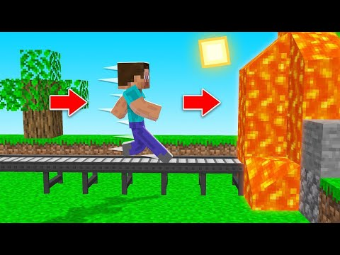 Minecraft BUT You Can ONLY WALK STRAIGHT! (no turning)