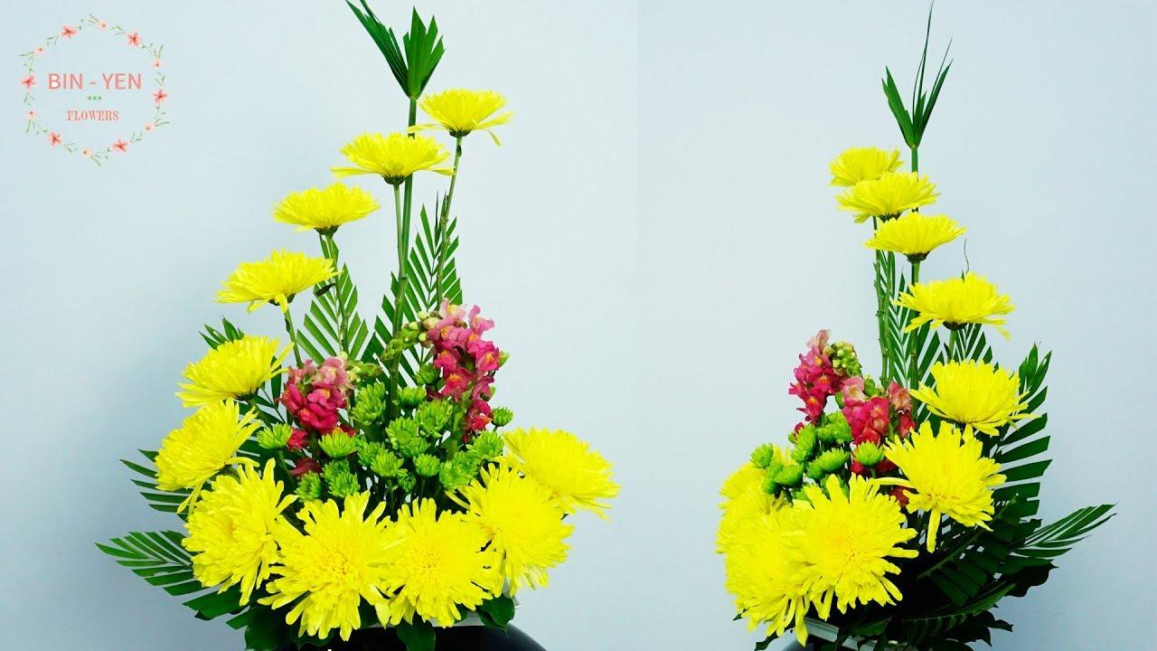 How to make the Yellow Chrysanthemum ,Snapdragon Flower Arrange ? 139