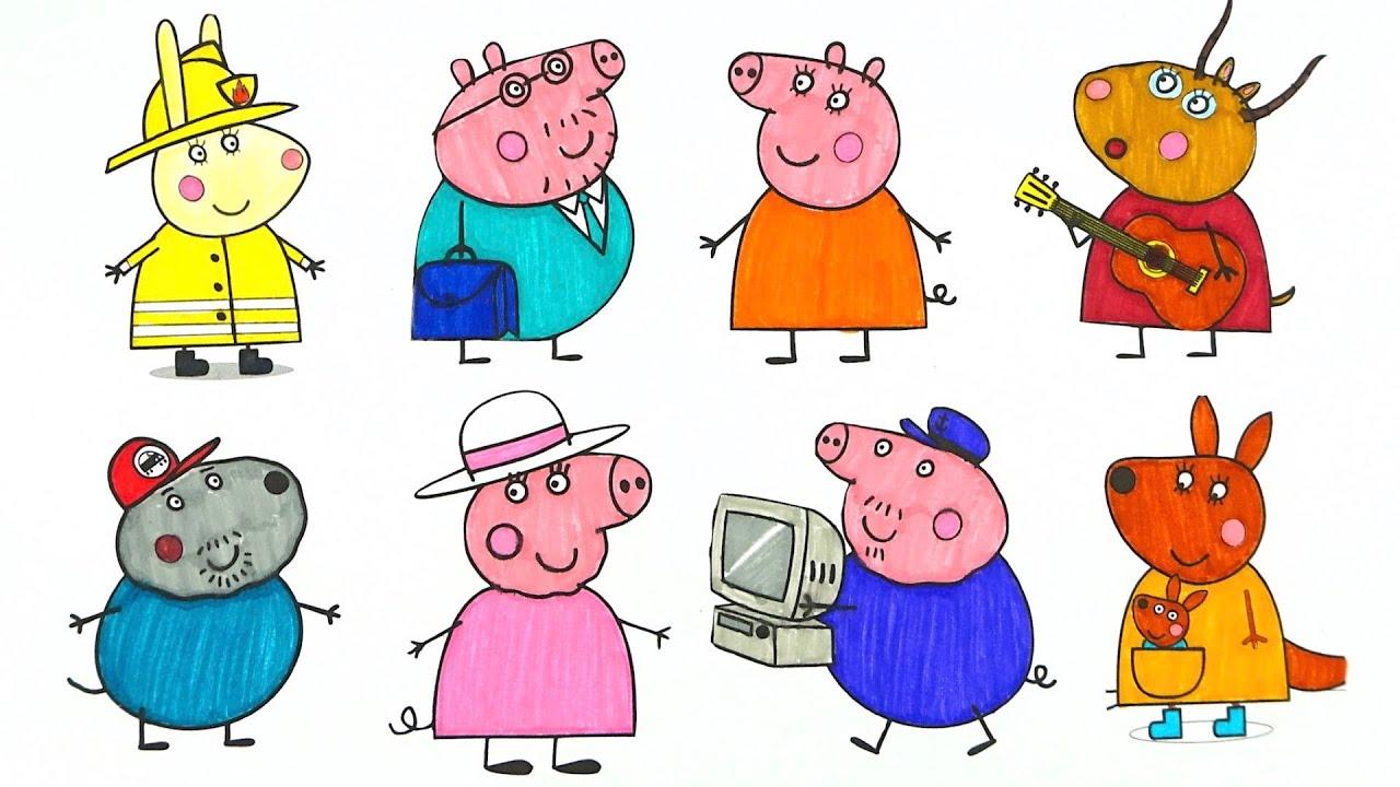 Свинка Пеппа раскрашиваем героев мультика