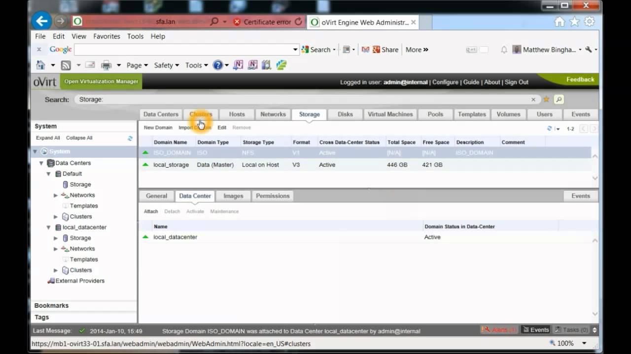 Initial webgui oVirt 3 3 2 Steps for storage
