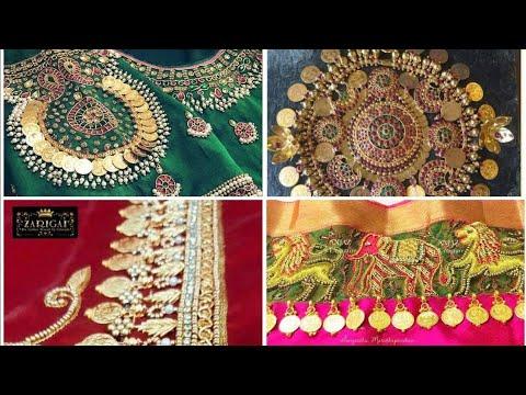 Latest kasu/coin Maggam aari work blouse desings