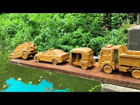 Drive the Muddy Toy Vehicle by hand and threw it into the water for cleaning | Toy Vehicles Cleaning