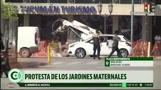 Dueños de jardines maternales realizaron una protesta en la plaza Independencia