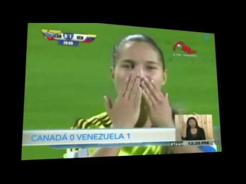 Primer gol de Deyna Castellanos en partido Venezuela-Canadá