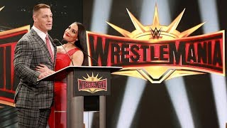 John Cena shares a kiss with Nikki Bella during WrestleMania 35 press conference