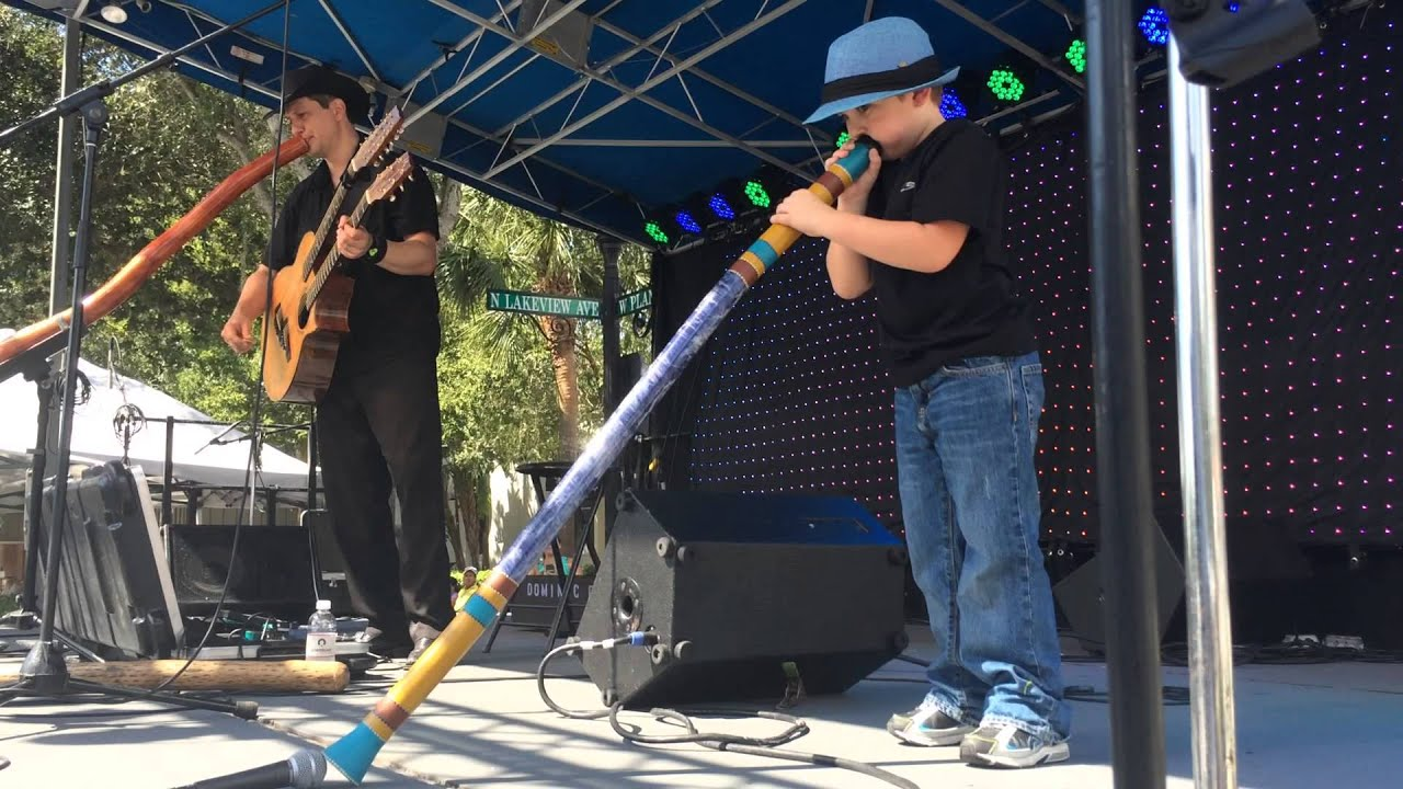 dominic and son play didgeridoo live at winter garden music
