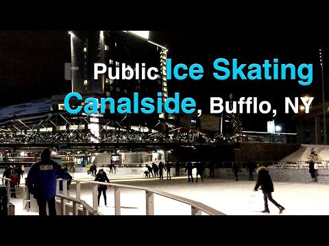 Ice Skating at Canalside, Buffalo, NY at night