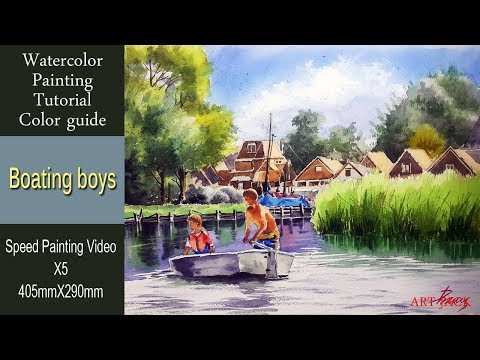 "Watercolor Painting Landscape Tutorial ""Boating boys"" [ART JACK] thumbnail"
