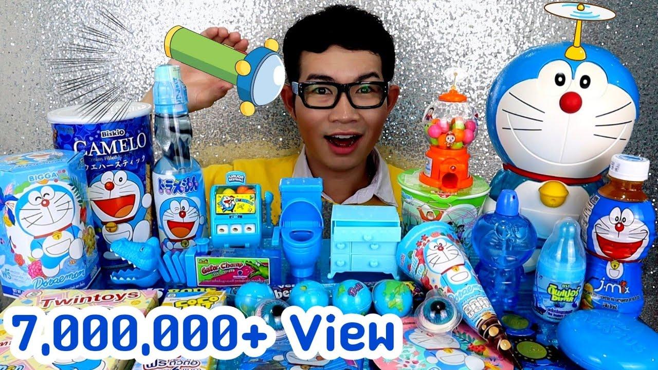 ชาเลนจ์อาหารสีฟ้า โดเรม่อน Doraemon Blue Color Food #Mukbang #ASMR 도라에몽 파란색 음식 먹방:ขันติ