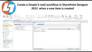 إنشاء رسالة بريد إلكتروني بسيطة سير العمل في SharePoint مصمم 2013 عند إنشاء عنصر جديد