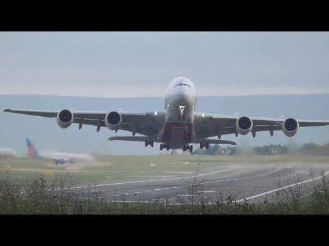 Emirates A380 Head on Windy Takeoff at Manchester Performing flight EK22 to Dubai!