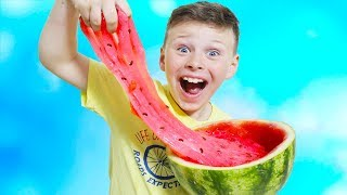 ALİ KARPUZ SLİME YAPTI  Learn colors with Monkeys, made Watermelon slime