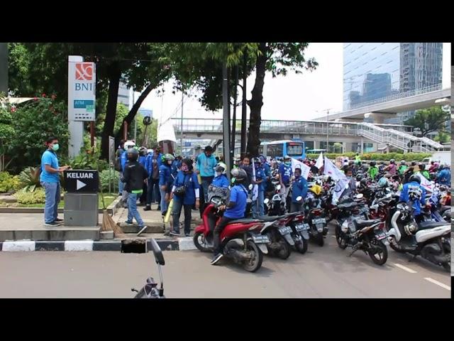 Aksi Buruh (K)SBSI Mendatangi Kemenaker Terkait UU Cipta Kerja