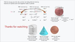 (Bài 244)[Toán học] Thể tích hình cầu + hình nón = hình trụ - Volume of sphere, cone, cylinder