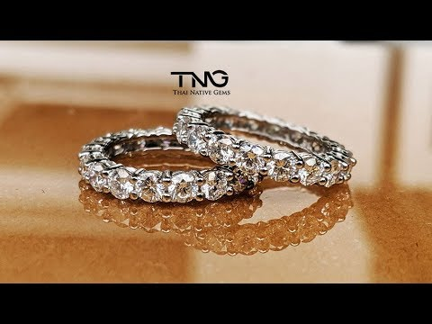 5.30 Carats (15 Pointers Each) Two Full Eternity Diamond Wedding Bands Set In Platinum PT950