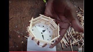 DIY: how to make wall clock using match sticks   miniature craft
