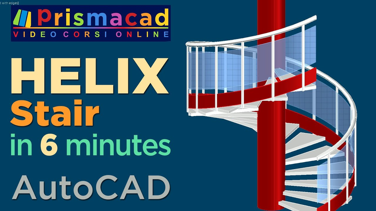 Spiral Staircase 3D with AutoCAD - Stair, Handrail, rail and posts in 6  minutes