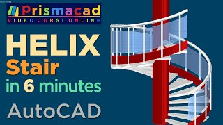 Spiral Staircase 3D with Handrail, rail and posts in a few minutes -- AutoCAD