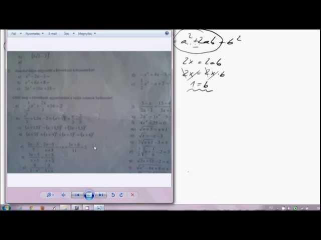 10. o. A másodfokú egyenlet 06 (Teljes négyzetes kifejezéssé alakítás)