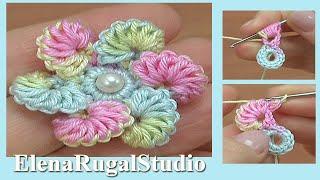 Вязание крючком - Нежный цветочек Урок 194
