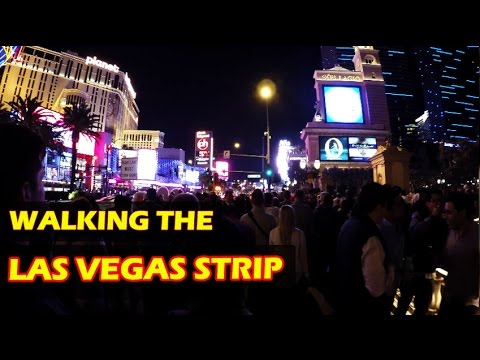 Walking the Las Vegas Strip at night in 4K HD - with Walter White, policemen and some sexy GIRLS!!