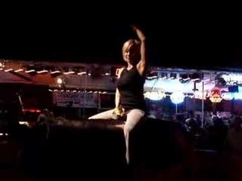 Hot big nude on mechanical bull