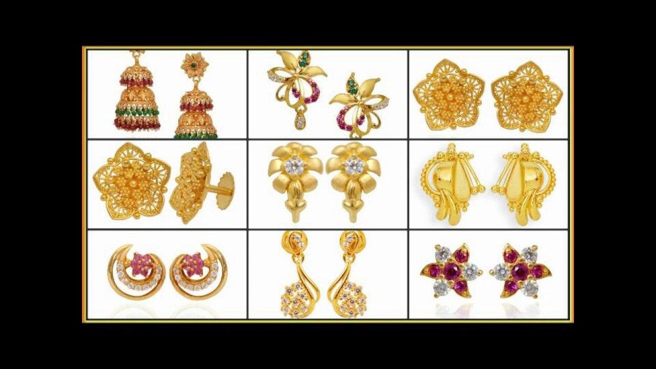 Latest/New Gold Studs Designs||DailyWear Small Tops|| - YouTube