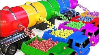 ダンプトラックとサッカーボールで学ぶ子供のための色