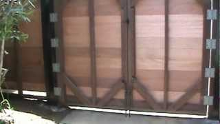Custom Horizontal Mahogany Wood Driveway Gates
