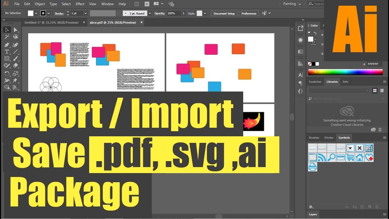 #Ai-40 All About Save/Package Export/Import  ai/pdf/svg | Illustrator Hindi  Tutorial Beginners