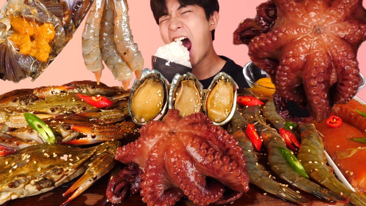 ENG SUB)Soy Sauce Marinated Octopus,Crab,Shrimp,Abalone Eat Mukbang🦀Korean ASMR 후니 Hoony Eatingsound