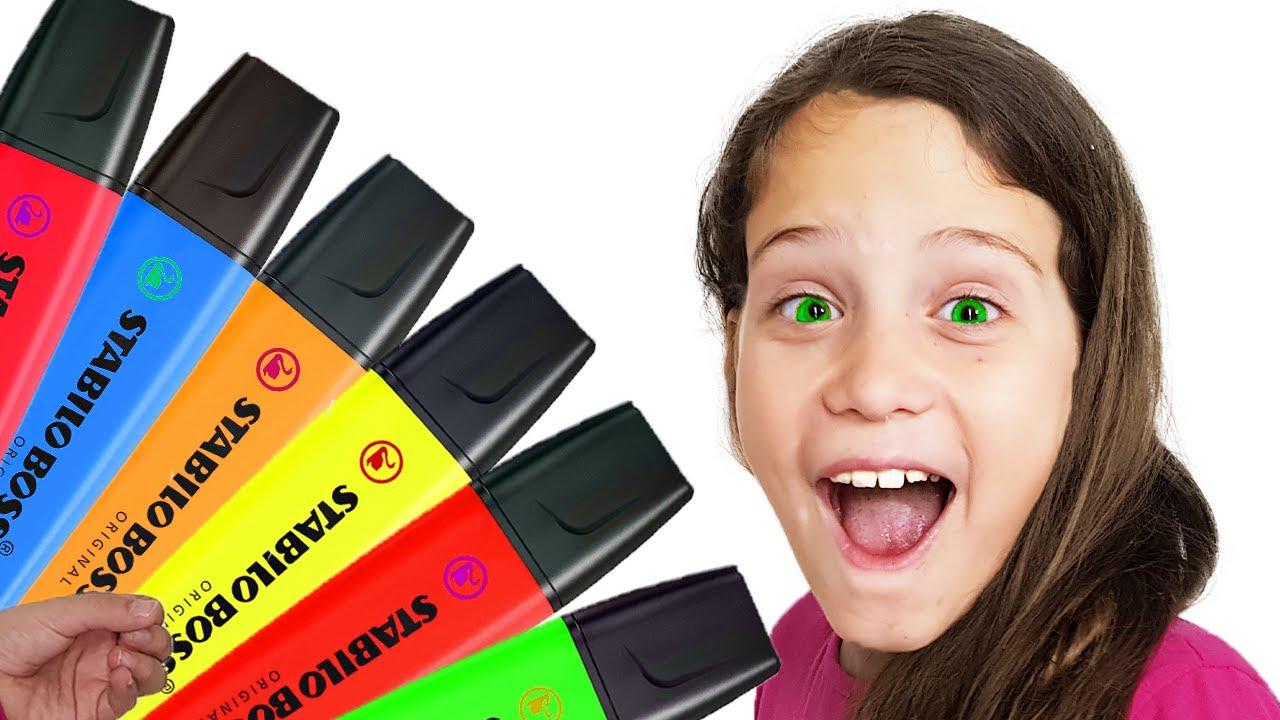 Elanın Sihirli Kalemleri   Ela Pretends to play with her Magic Pen (Türkçe)    Renkleri Öğreniyorum