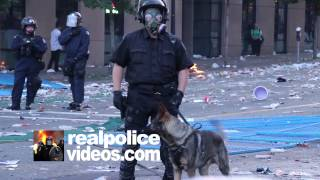 K9 Officer With Gas Mask At Riot - Hd 1080p