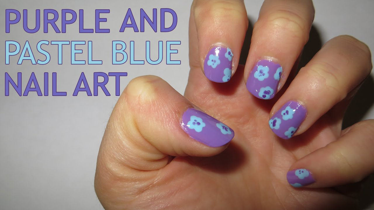 purple and pastel blue nail art - youtube