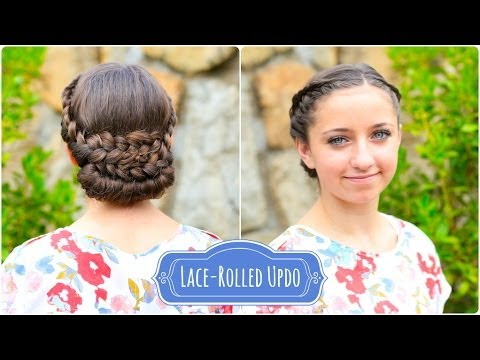 lace-rolled updo cute hairstyles