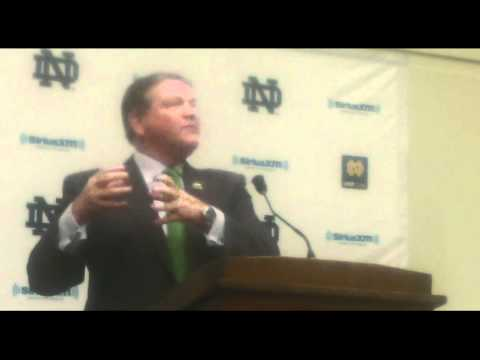 Notre Dame football coach Brian Kelly on Gunner Kiel