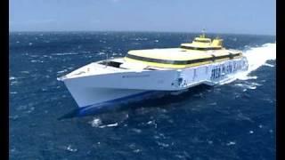 Trimaran sailing on sea rough