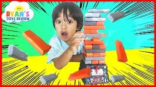 family fun game for kids jenga quake egg surprise toys marvel superhero blind bag ryan toysreview
