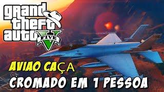 GTA 5 Online (PS4) - Avião de Caça Rosa e Cromado em Primeira Pessoa