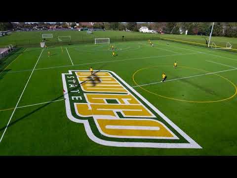 Women's soccer practice aerial views (audio: instrumental music)