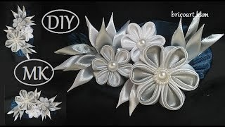 DIY/Kanzashi Brooch tutoriel/Ribbon flower/Brooch/MK/канзаши: bricoart.kam