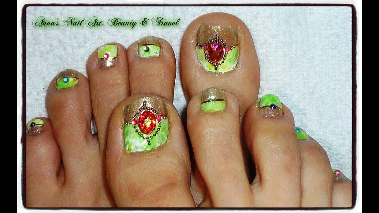Tibetan Green Turquoise Toe Nail Design Youtube