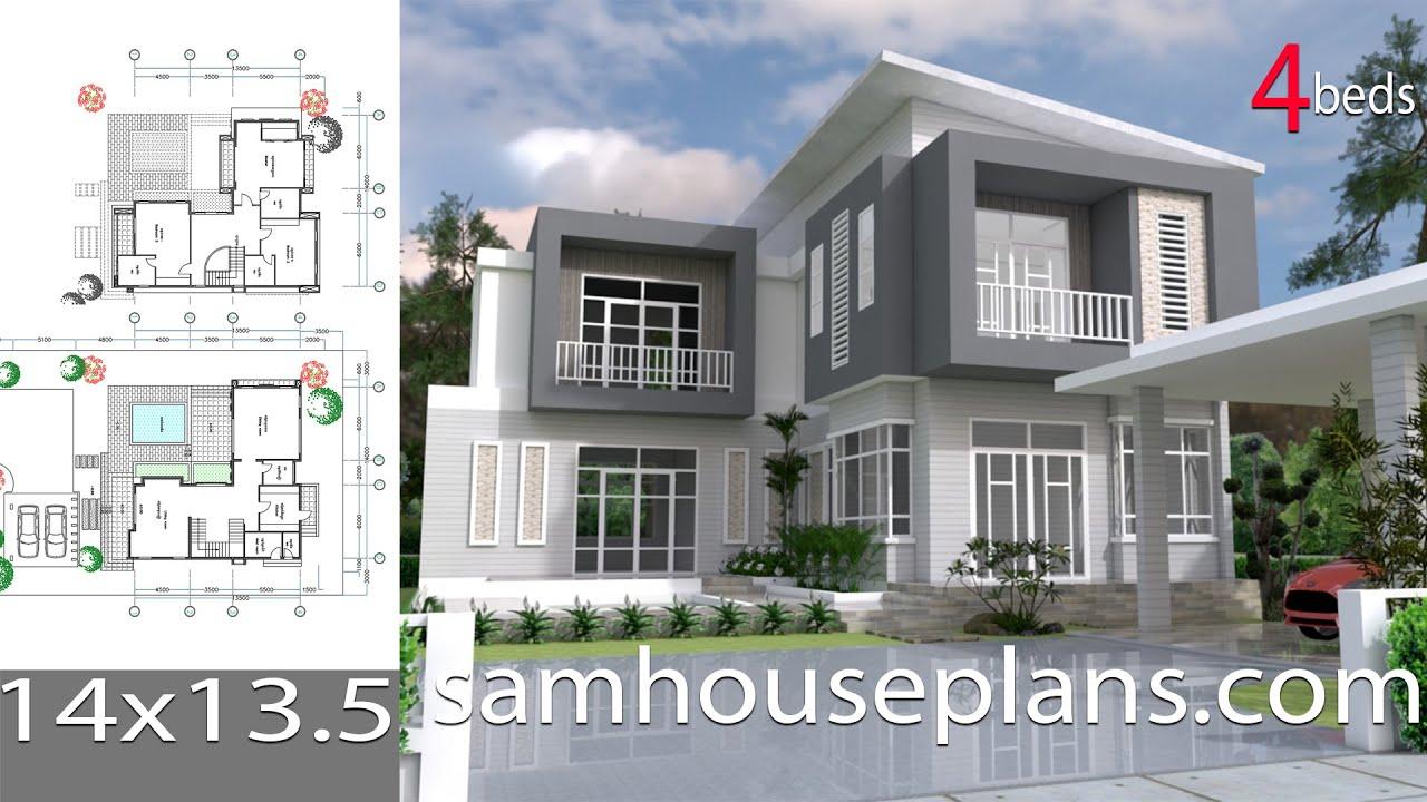 Sketchup modern home plan 14x13 5m
