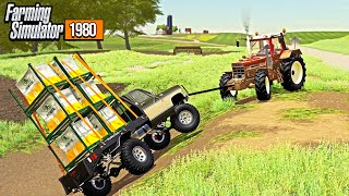 OVERLOADED TRUCK FLIPPED IN DITCH! (FARMER COMES TO THE RESCUE) | FARMING SIMULATOR 1980'S