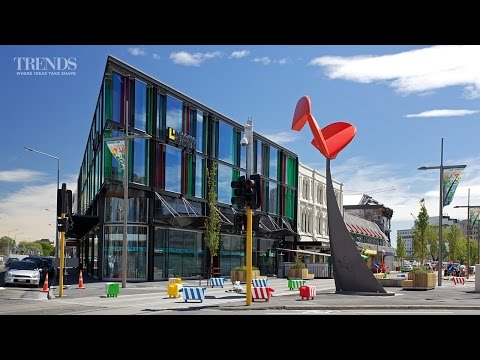 Post-earthquake commercial building in Christchurch on triangular site