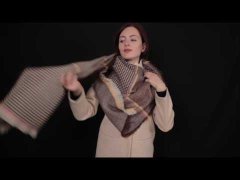 Как завязать шерстяной платок на пальто