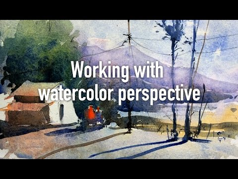 Watercolor lesson, tip and techniques - working with perspective, light & shades